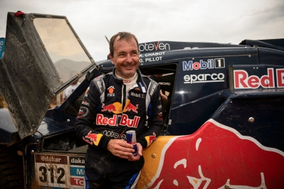 Ronan Chabot seen at the finish line of Dakar Rally in Valparaiso, Chile on January 18th, 2014