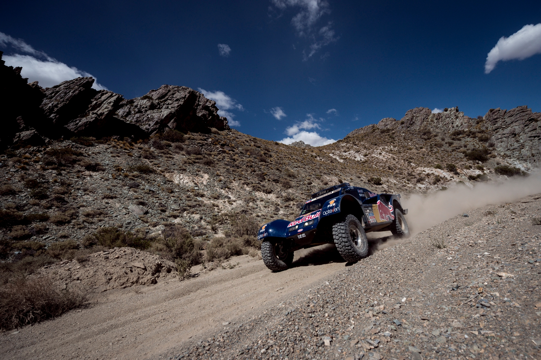 Ronan Chabot (driver) and Gilles Pillot (co-driver) race during the 3rd stage of Dakar Rally from San Rafael to San Juan, Argentina on January 7th, 2014