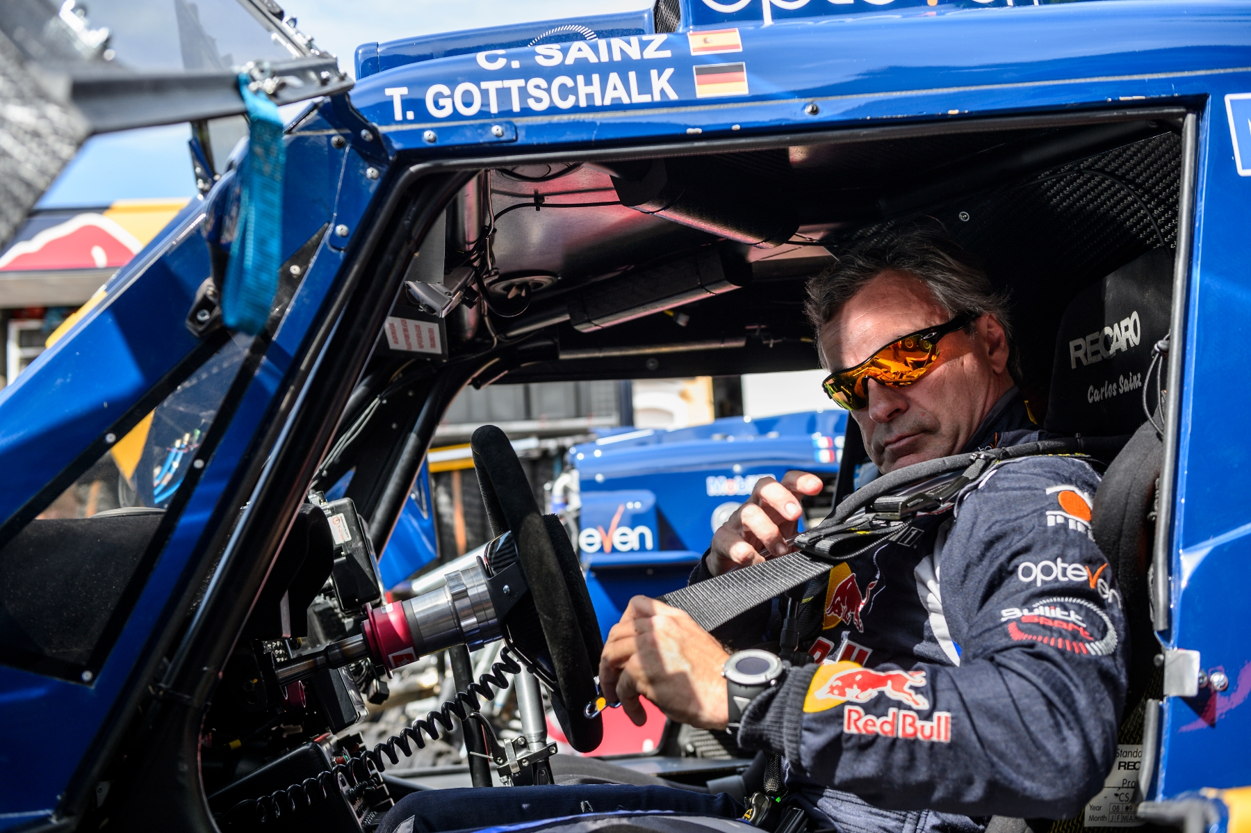 Carlos Sainz gets ready for the car testing prior Dakar Rally in Rosario, Argentina on January 3nd, 2014