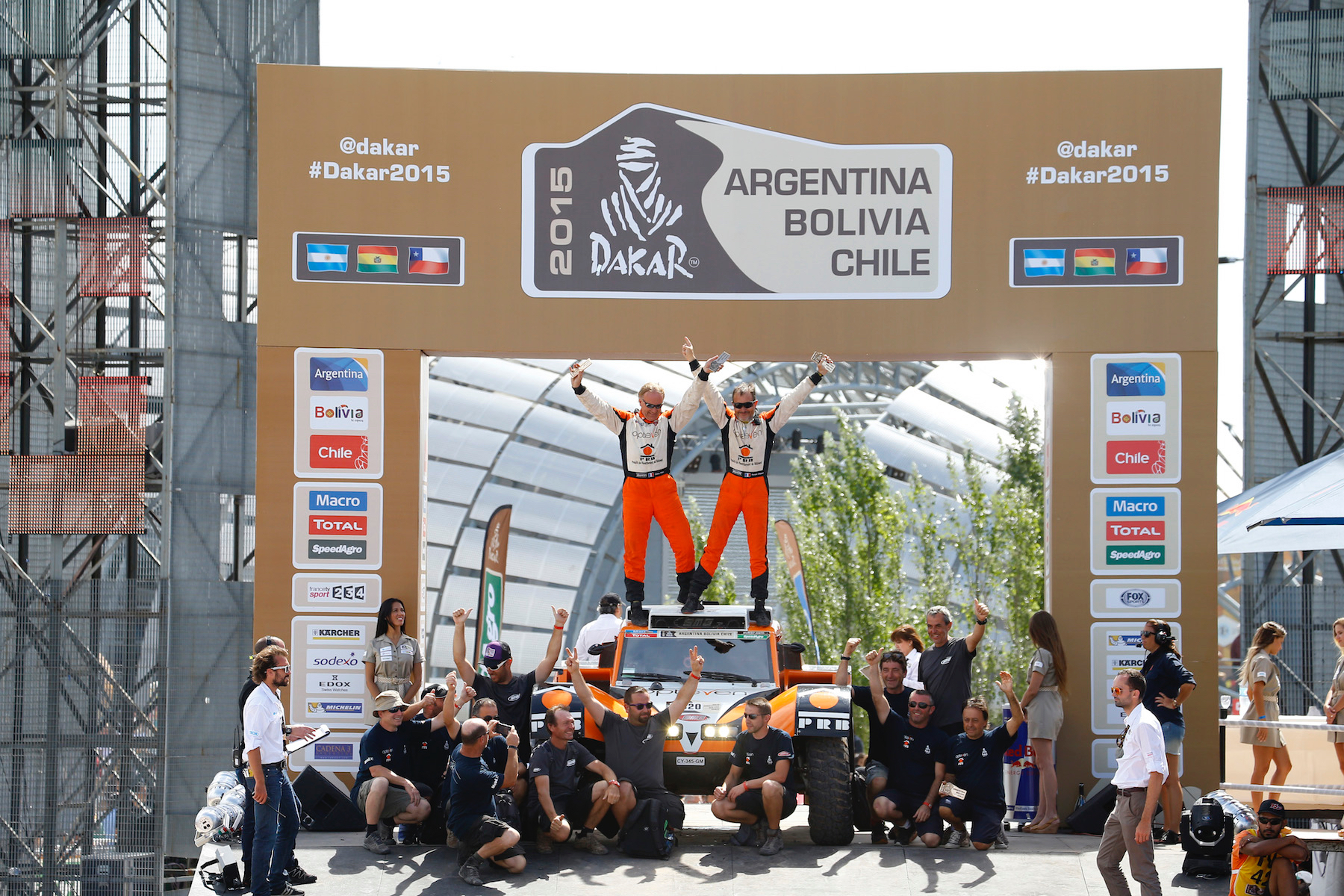 320 CHABOT Ronan (Fra) PILLOT Gilles (Fra) Smg ambiance during the Dakar 2015 Argentina Bolivia Chile, Stage 13 Finish and Podium /  Etape 13, Rosario to Buenos Aires on January 17th 2015 at Rosario, Argentina. Photo Frederic Le Floch / DPPI