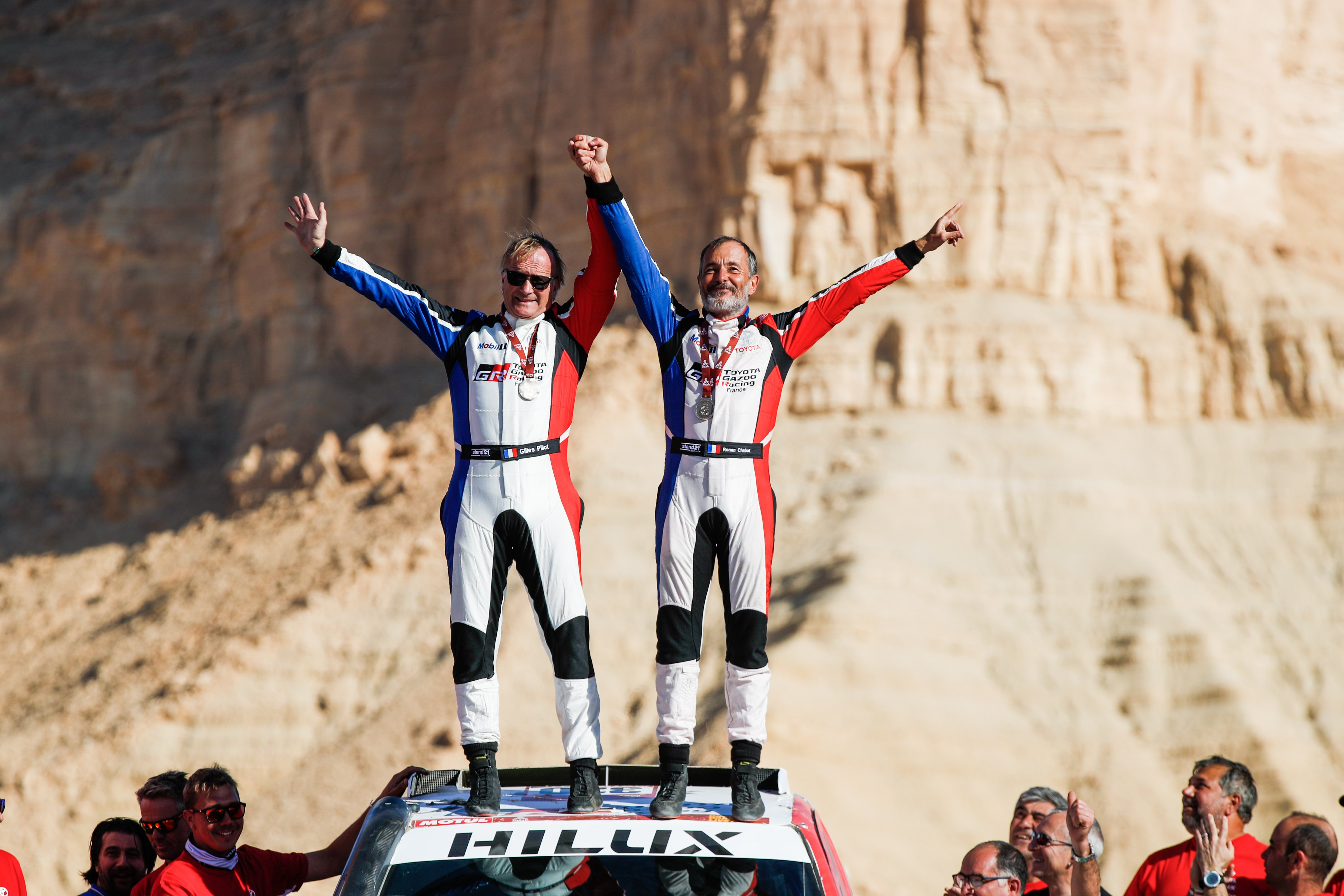 320 Chabot Ronan (fra), Pillot Gilles (fra), Toyota Hilux, Overdrive Toyota, Auto, Car, ambiance on the podium at the arrival of the Dakar 2020, in Qiddiya, Saudi Arabia, on January 17, 2020 - Photo Florent Gooden / DPPI
