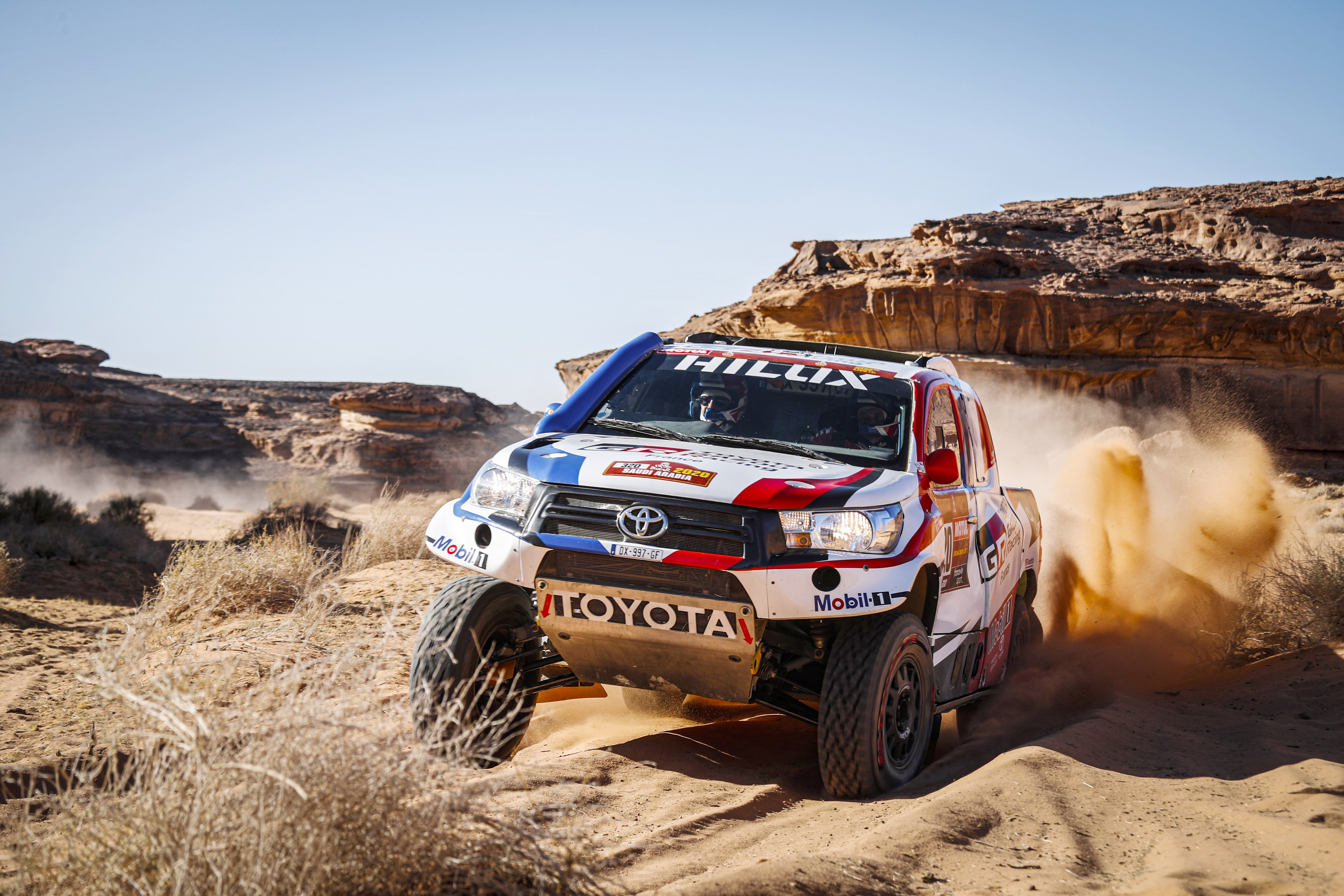 320 Chabot Ronan (fra), Pillot Gilles (fra), Toyota Hilux, Overdrive Toyota, Auto, Car, action during Stage 5 of the Dakar 2020 between Al Ula and Ha'il, 563 km - SS 353 km, in Saudi Arabia, on January 9, 2020 - Photo Francois Flamand / DPPI